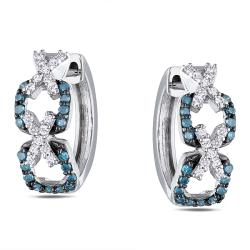 Miadora Sterling Silver 1/3ct Blue and White Diamond Huggie Earrings (H-I, I2-I3)