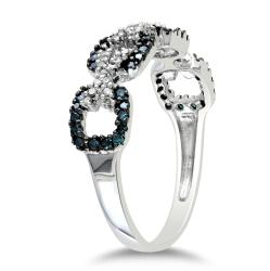 Miadora Sterling Silver 3/8ct TDW Blue and White Diamond Ring (G-H, I2-I3)