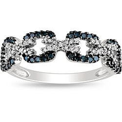 Miadora Sterling Silver Blue and White Diamond Ring (G-H, I2-I3)