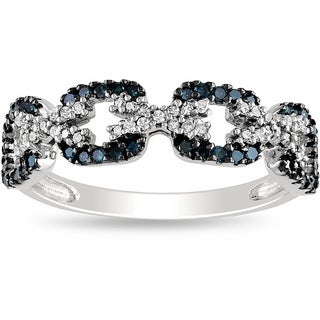 Haylee Jewels Sterling Silver Blue and White Diamond Ring (G-H, I2-I3)
