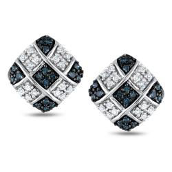 Miadora Silver 1/3ct TDW Blue and White Diamond Earrings (H-I, I2-I3)