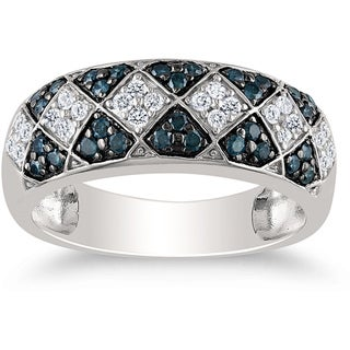 Miadora Sterling Silver 1/2ct TDW Blue-and-white Round Diamond Ring (H-I, I2-I3)