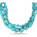Multi-shape Turquoise Bead High-polish Three-strand Necklace (18-inch)