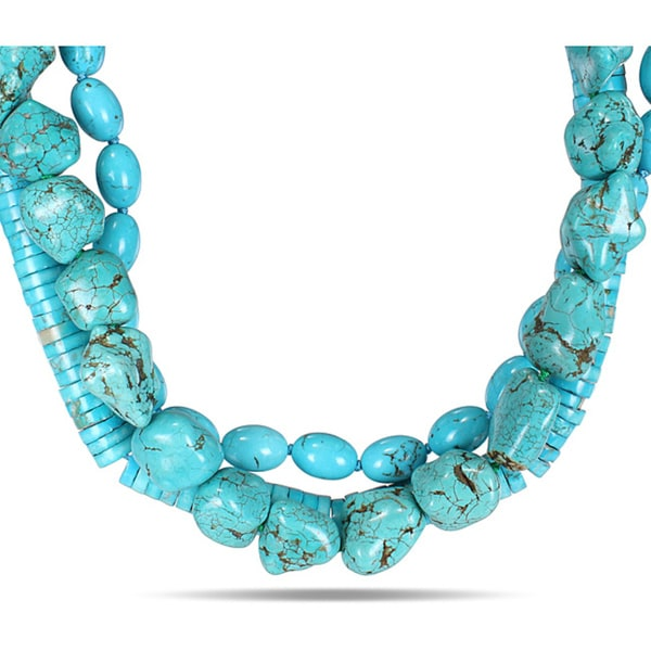 Miadora Multi-shape Turquoise Bead High-polish Three-strand Necklace (18-inch)