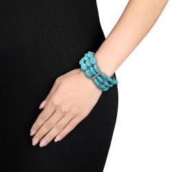 Miadora Created Turquoise Elastic Bracelet (7.5-inch)