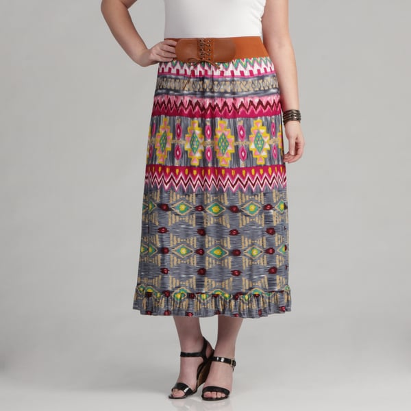 Meetu Magic Multicolored Plus-size Belted Tribal-print Maxi Skirt