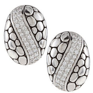 La Preciosa Sterling Silver Cubic Zirconia Oval Pebble Stripe Earrings