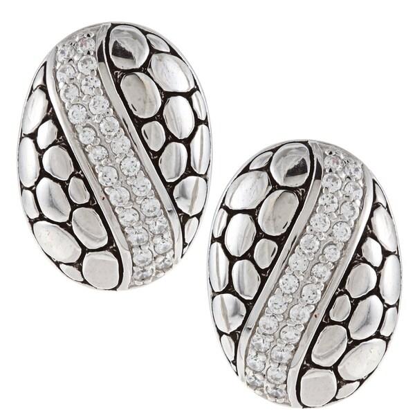 La Preciosa Sterling Silver Cubic Zirconia Oval Pebble Stripe Earrings