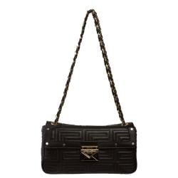 Versace Black Leather Shoulder Bag