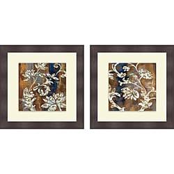 Silvia Vassileva 'Moonlight Magnolia Silhouette I & II' Framed Print