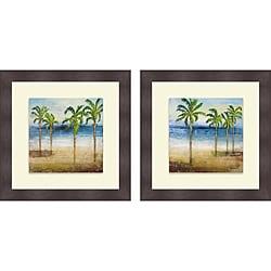 Michael Marcon 'Ocean Palms I & II' Framed Print
