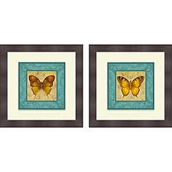 Vivien Rhyan 'Colorful Wings Square I & II' Framed Print