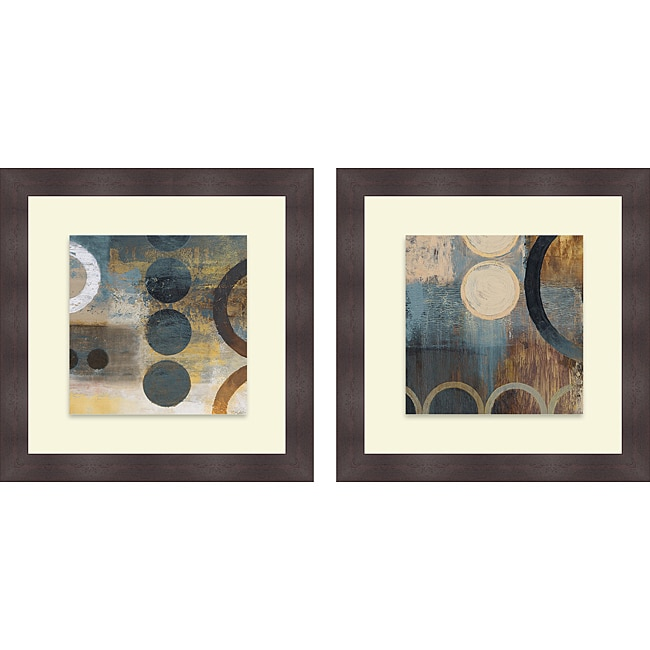 Michael Marcon 'Blue Liberate Square I & II' Framed Print