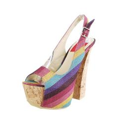 Fahrenheit Women's Anne-22 Rainbow Striped Slingback Platform Sandals