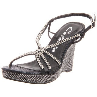 Celeste Women's Marisa-02 Jeweled Glitter Wedge Sandals