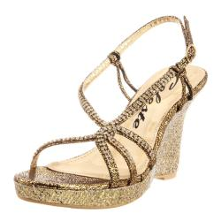 Celeste Women's Marisa-02 Jeweled Glitter Studded Platform Wedge Sandals