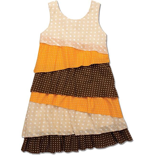 Beetlejuice London Girls' Asymmetrical Multi Dot Dress