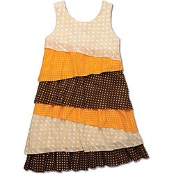 Beetlejuice London Girls' Asymmetrical Multi Dot Dress