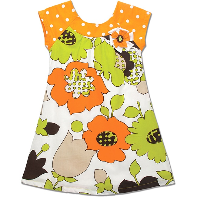 Beetlejuice London Girls' Orange Dot/ Flower Baby Doll Dress