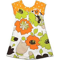 Beetlejuice London Girls' Orange Dot/ Flower Baby Doll Dress
