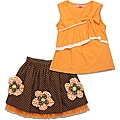 Beetlejuice London Girls' Brown/ Orange Skirt Set