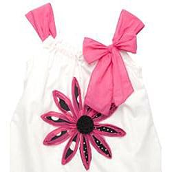 Beetlejuice London Girls' White/ Pink Strap Dress