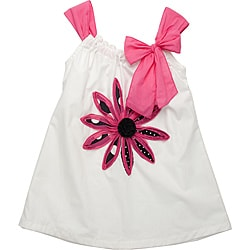 Beetlejuice London Girls' White/ Pink Strap Dress