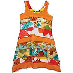 Beetlejuice London Girls' Orange Tiered Dress