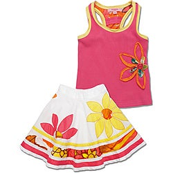 Beetlejuice London Girls' Pink/ Yellow Skirt Set
