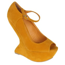 Privilegeo by Beston Women's 'Dexter' Yellow Peep Toes