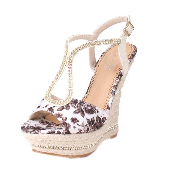 Bolaro by Beston Women's 'DW1168' Floral Espadrille Wedge Sandals