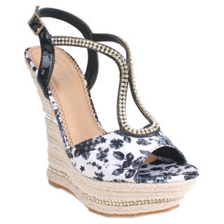 Bolaro by Beston Women's 'DW1168' Black White Floral Espadrille Wedge Sandals