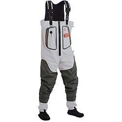 Gray/White Casual Hodgeman Hickory Swale Polyester Zip-chest Waders
