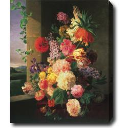 Jacob Van Walscapelle 'Bouquet of Flowers in a Vase' Hand-painted Oil on Canvas