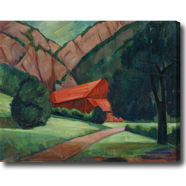 Maximilian Reinitz 'Red House, Red Street, and Red Mountains' Abstract Hand-painted Oil on Canvas