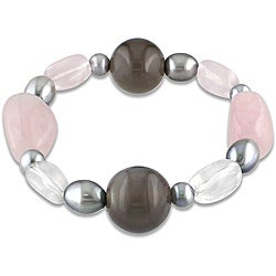 Miadora 112ct TGW Gemstone and Pearl Stretch Bracelet (7.5-inch)