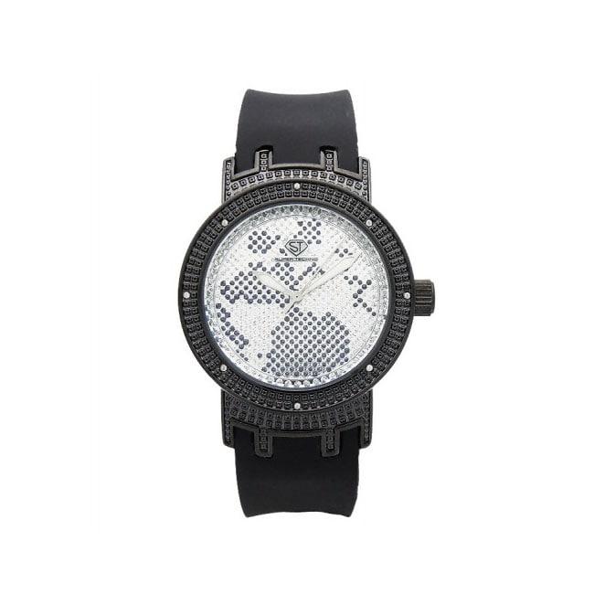 Joe Rodeo Women's Super Techno Black-Strap Diamond Watch