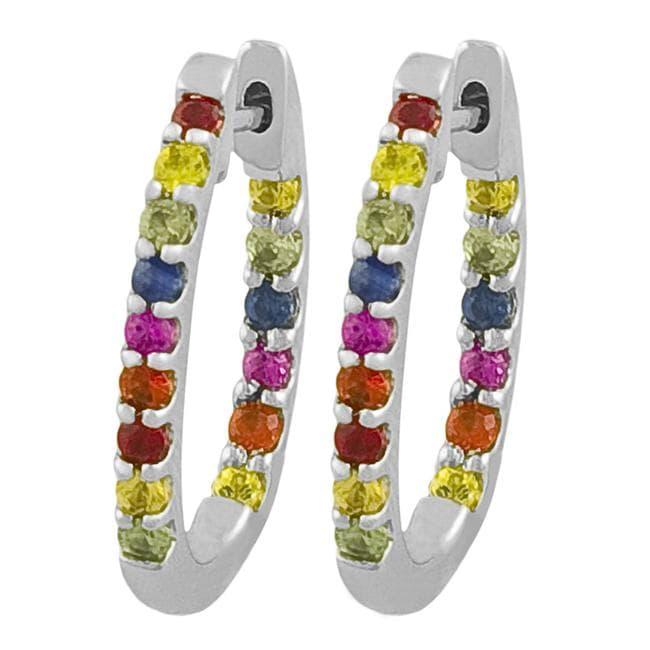 Fremada Sterling Silver Multicolor Sapphire Oval Hoop Earrings