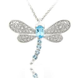 Dolce Giavonna Sterling Silver Blue Topaz and Diamond Accent Dragonfly Necklace