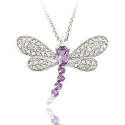 Dolce Giavonna Sterling Silver Amethyst and Diamond Accent Dragonfly Necklace