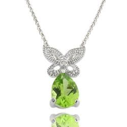 Dolce Giavonna Sterling Silver Peridot and Diamond Accent Butterfly Necklace