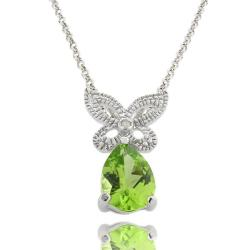Sterling Silver Peridot and Diamond Accent Butterfly Necklace