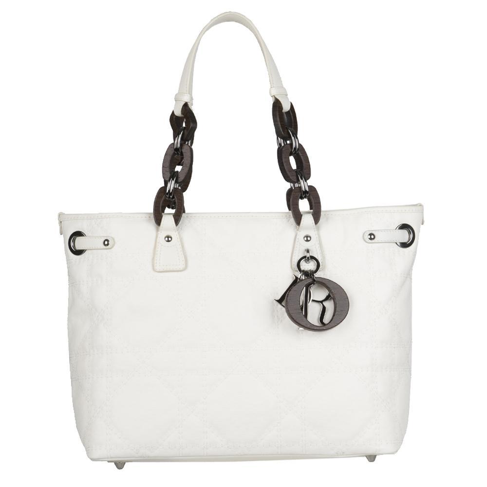 Christian Dior 'Panerea' Small White Canvas Tote