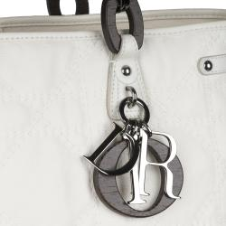 Christian Dior 'Panerea' Small White Canvas Tote