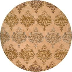 Hand-tufted Retro Chic Brown Floral Rug (8' Round)
