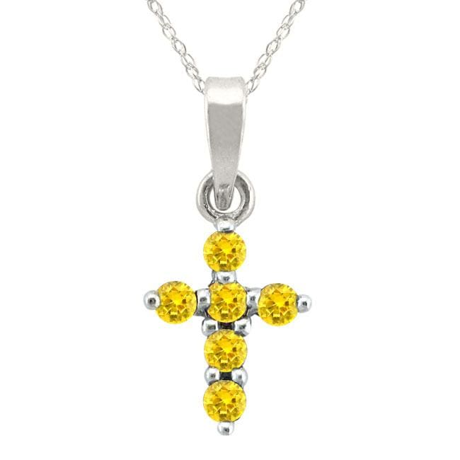 10k Gold November Birthstone Citrine Designer Cross Necklace