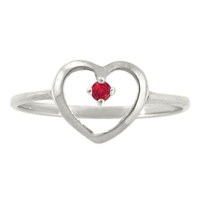 10k Gold Petite Designer July Birthstone Created Ruby Heart Ring