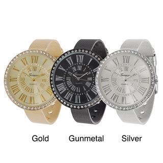 Geneva Platinum Women's Rhinestone Roman Numeral Mesh Band Watch