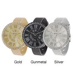 Geneva Platinum Women's Rhinestone Roman Numeral Mesh Band Watch