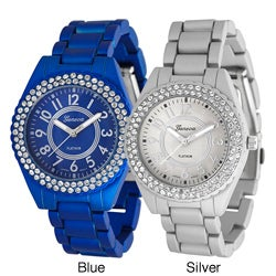 Geneva Platinum Women's Dazzling Czech Rhinestone Soft-Coated Link Watch